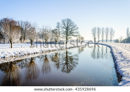 River Mark near the Dutch city of Breda in the winter season. It has snowed and there is a thin layer of ice on the water.