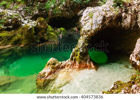 River Mostnica (Mostnice Korita) and Elephant formation  near lake Bohinj in Slovenia - stock photo