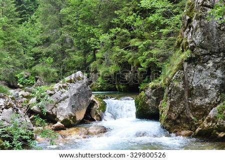 river mountain - stock photo