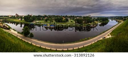 River Neman in city Grodno, Belarus.