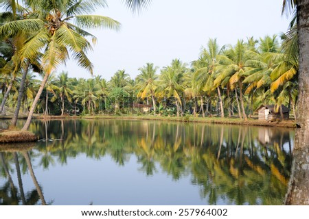 River of the backwaters at Kollam on India - stock photo