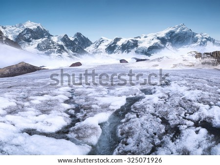 River on the glacier. Beautiful mountain landscape - stock photo
