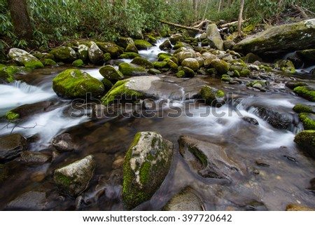 River On The Roaring Fork. Mountain stream flows along the road on the Roaring Fork Motor Nature Trail in the Great Smoky Mountains National Park in Gatlinburg, Tennessee. - stock photo