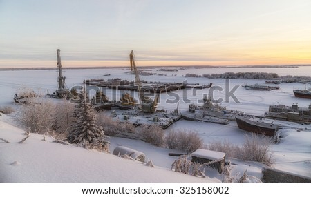 river port in winter