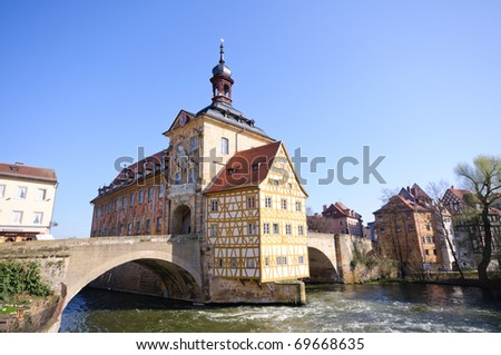 River Regnitz and Altes Rathaus - Bamberg, Germany - stock photo