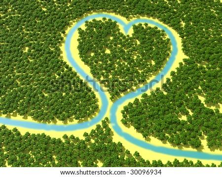 River Runs Through Forest Form Heart Stock Illustration 30096934