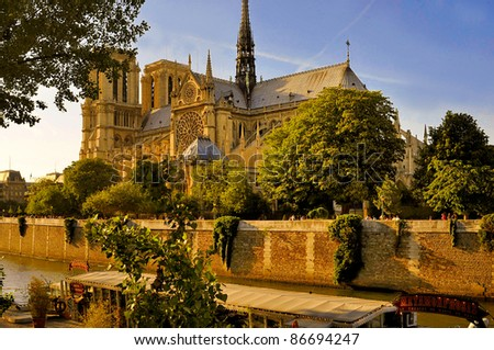 River Seine and cathedral Notre Dame in Paris, France - stock photo