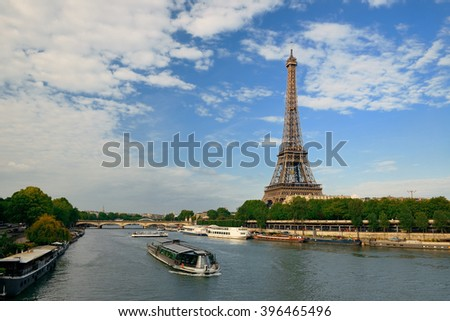 River Seine and Eiffel Tower in Paris, France. - stock photo
