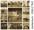 River Seine, palaces and townhouses in sepia. Capitol of France. Collage - stock photo