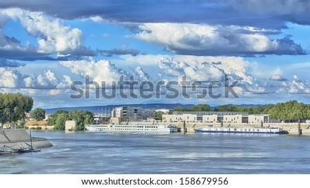 River ships in Arles, France, HDR - stock photo