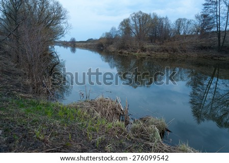 River shore. Spring, April. Late evening. - stock photo