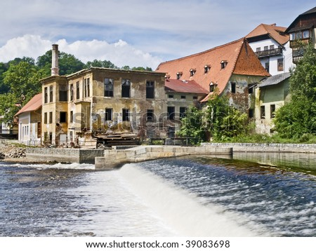 River side of the medieval town of Cesky Krumlov, located in the Czech Republic - stock photo