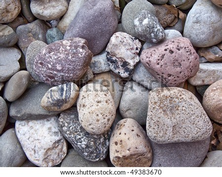 River stone used for landscaping.