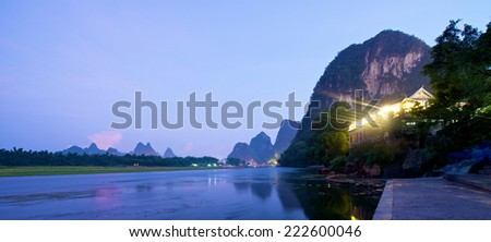 River Sunset in Yangshuo Guilin in Guangxi province in China - stock photo