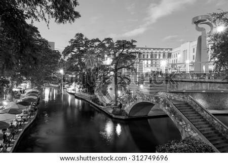 River Walk in San Antonio, Texas - stock photo