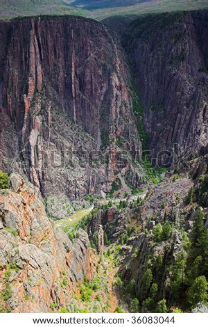 River winding through mountains in Black Canyon of Gunnison National park - stock photo