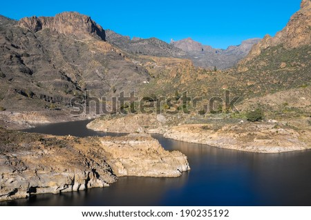 River with Dark Black Water in Canary Islands
