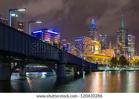 River Yarra and the CBD at night, Melbourne Victoria, Australia - stock photo
