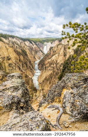 River Yellowstone with falls in National Park  - Wyoming - stock photo