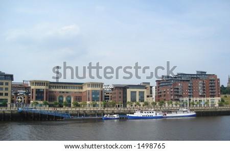 Riverbank Quayside Newcastle - stock photo