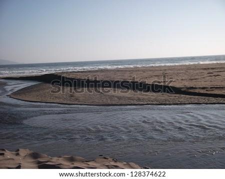 riverside down to the ocean sea Panorama Chile waterfront beach view la serena  - stock photo