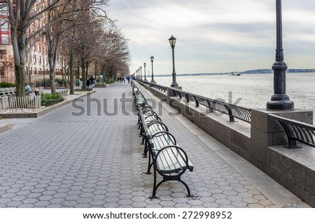 Riverside Footpath in New York City on a Cloudy Winter Day - stock photo