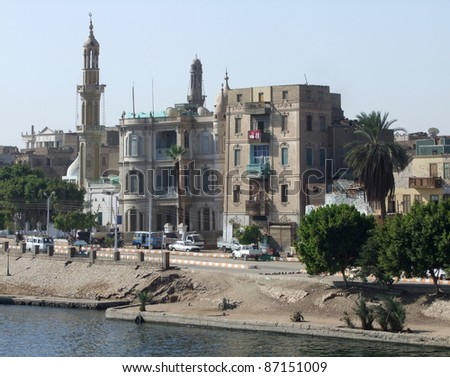 "riverside scenery of a city named ""Esna"" in Egypt"