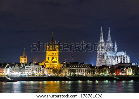 Riverside view of the Town Hall, church of Great St. Martin and Cologne Cathedral , Germany