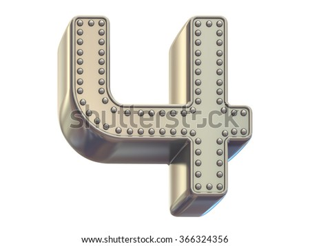 riveted metal number four font - stock photo