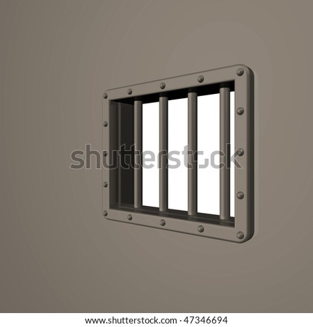 riveted steel prison window - 3d illustration - stock photo