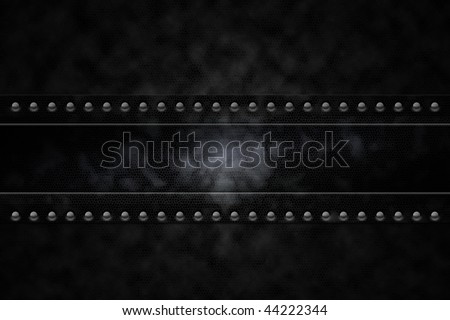 Rivets in black leather lookalike background - stock photo