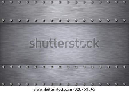 Rivets in brushed steel background - stock photo