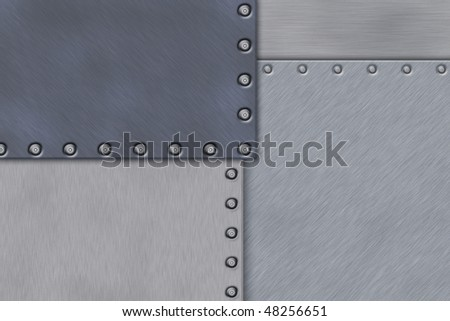 Rivets in brushed steel background. Copy space.