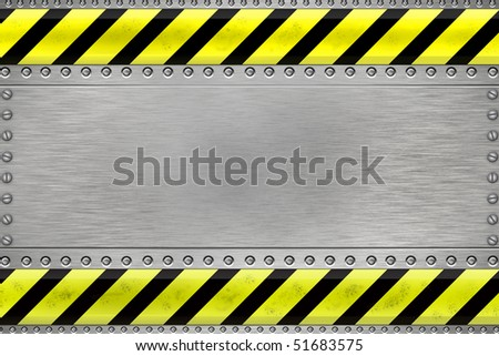 Rivets in steel background. Yellow and black construction border.Copy space - stock photo