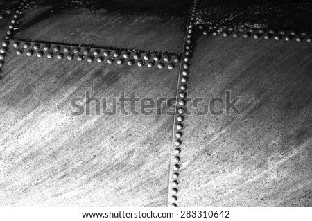 rivets on a pipeline that carries water from a reservoir to the Faraday Hydroelectric powerhouse near Estacada, Oregon - stock photo