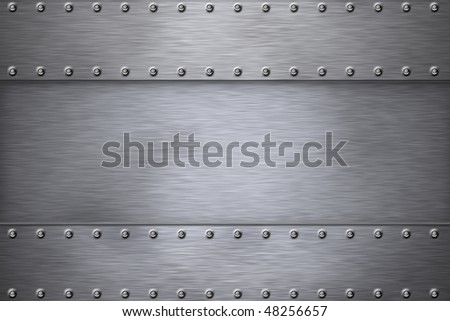 Rivets on grey brushed steel background. - stock photo