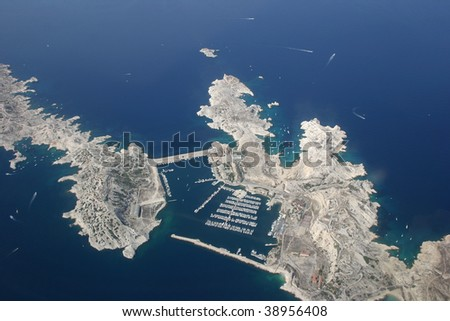 riviera coast view from the plane - stock photo