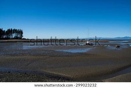 Riwaka River Mouth Tasman New Zealand - stock photo
