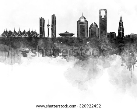Riyadh skyline in black watercolor  - stock photo