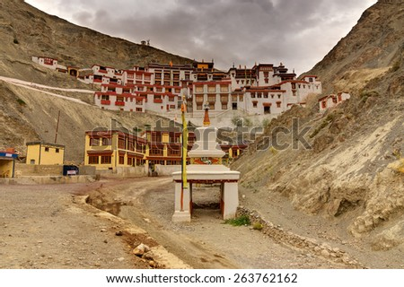 Rizong monastery with view of Himalayan mountains - it is a famous Buddhist temple in,Leh, Ladakh, Jammu and Kashmir, India. - stock photo