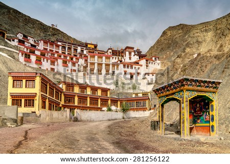 Rizong monastery with view of Himalayan mountians - it is a famous Buddhist temple in,Leh, Ladakh, Jammu and Kashmir, India. - stock photo