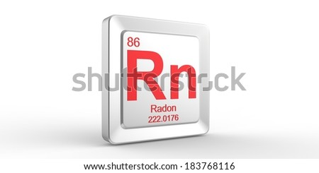 Rn symbol 86 material for Radon chemical element of the periodic table - stock photo