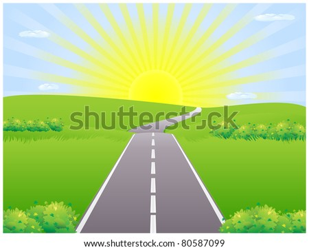 Road against the backdrop of the rising sun among meadows disappearing over the horizon - stock photo