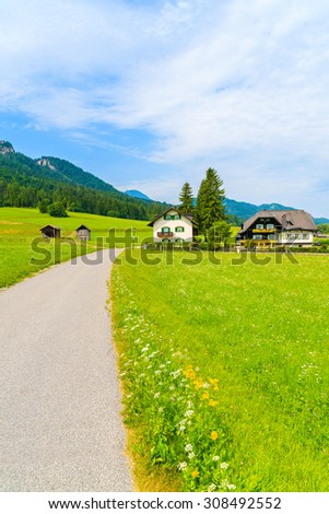 Road along green meadow with typical alpine houses in background in summer landscape of Alps Mountains, Weissensee lake, Austria - stock photo