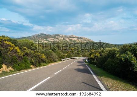 Road along the coast in Teulada, Sardinia, Italy - stock photo