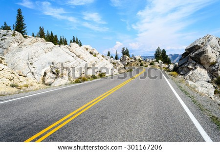 Road Along Yellowstone National Park - stock photo