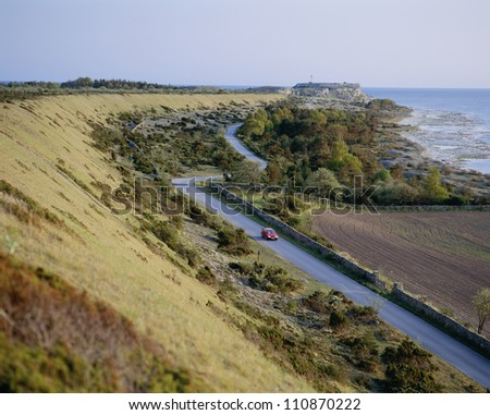 Road amidst landscape - stock photo