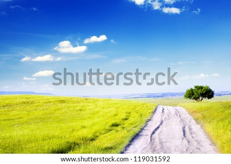 Road amongst green meadow and blue sky - stock photo