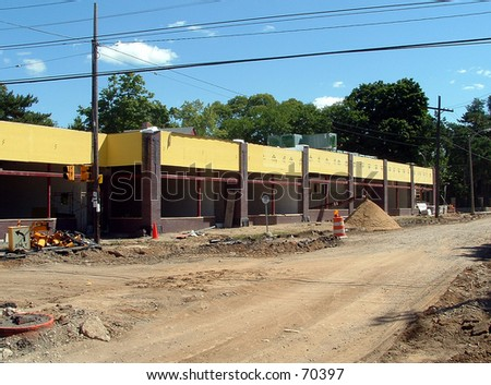 road and building construction - stock photo