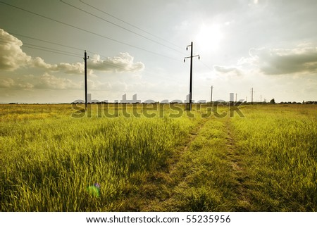 Road and electric power-line on the concrete columnes in the grass field.